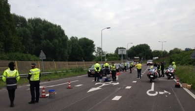 Grootscheepse alcoholcontrole op afrit N3 Papendrecht